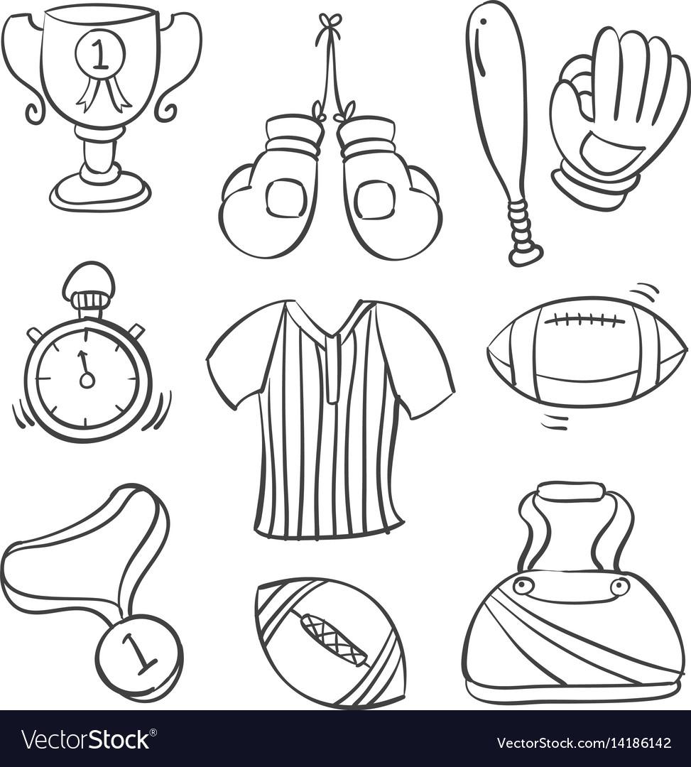 Doodle of sport equipment black white vector image