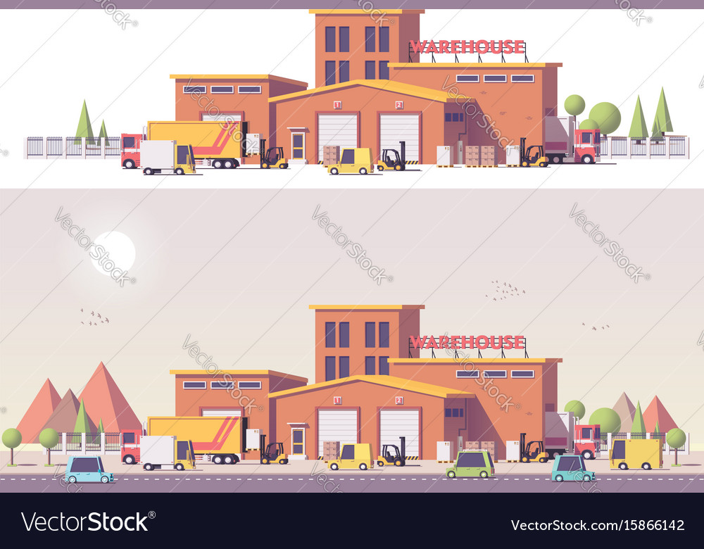Low poly 2d warehouse vector image
