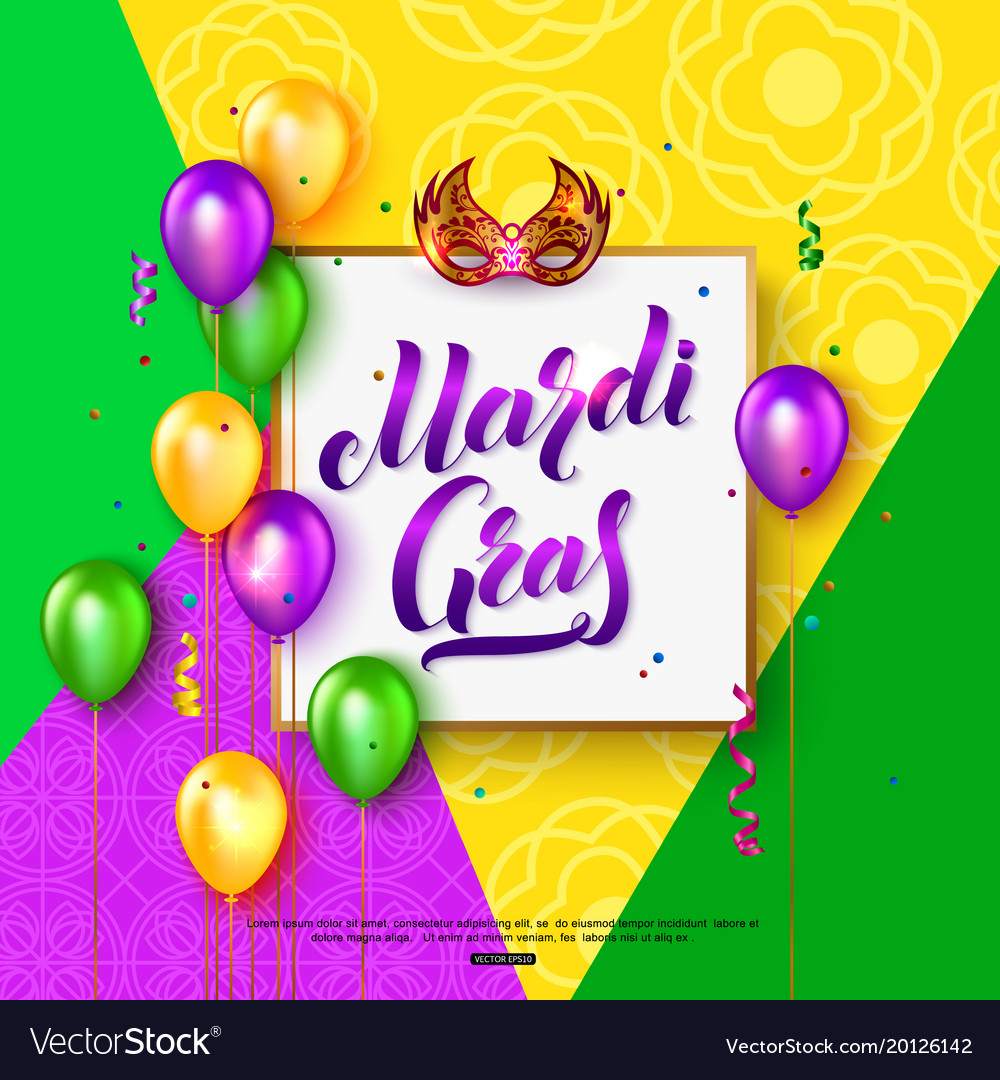 Mardi gras carnival mask background with lettering