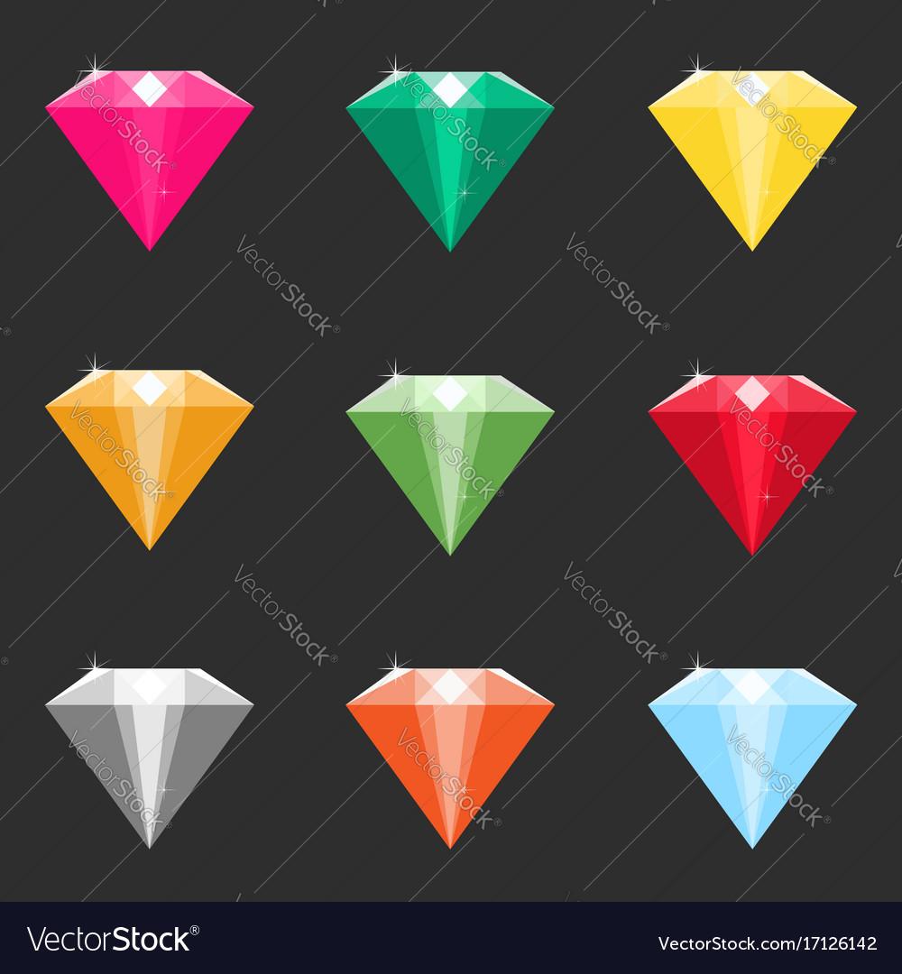 Set of cartoon diamonds crystals in different
