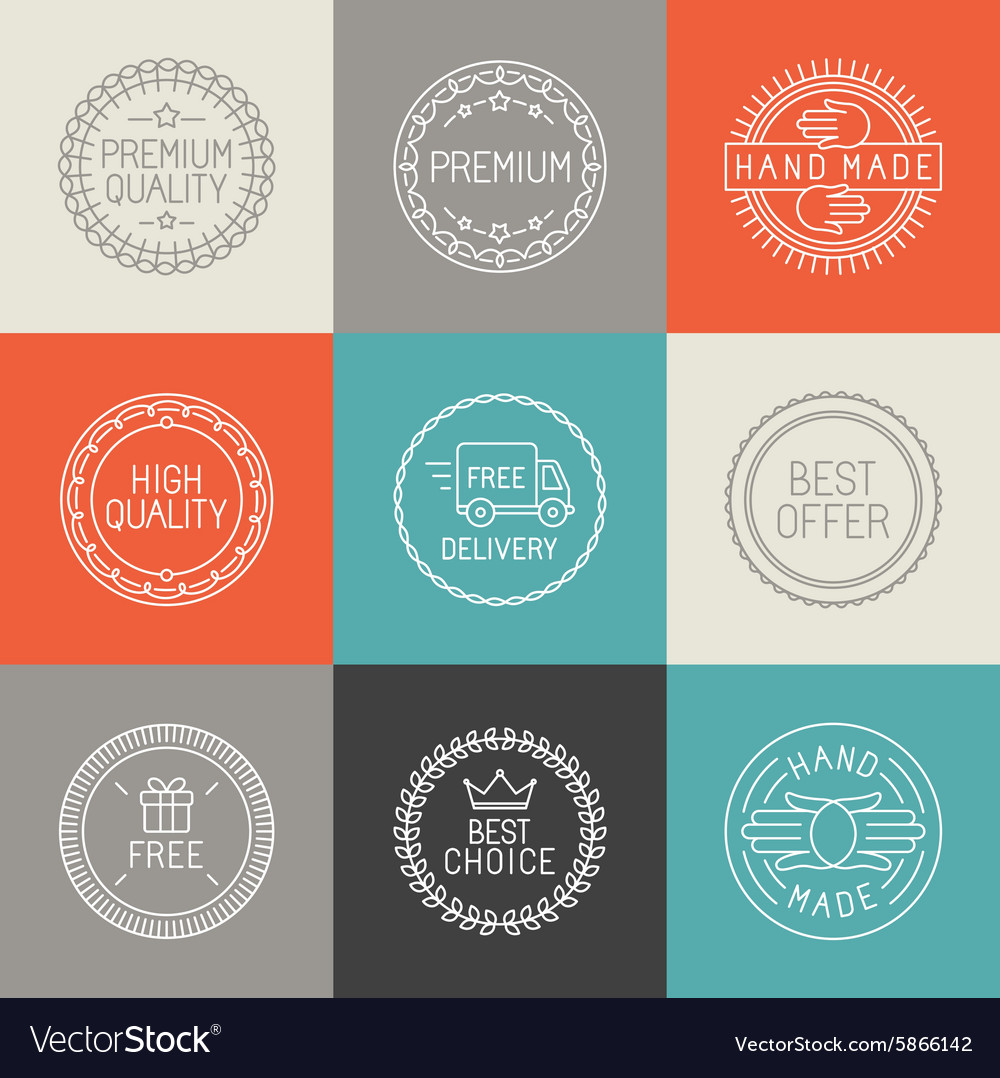 Set of labels badges and emblems vector image