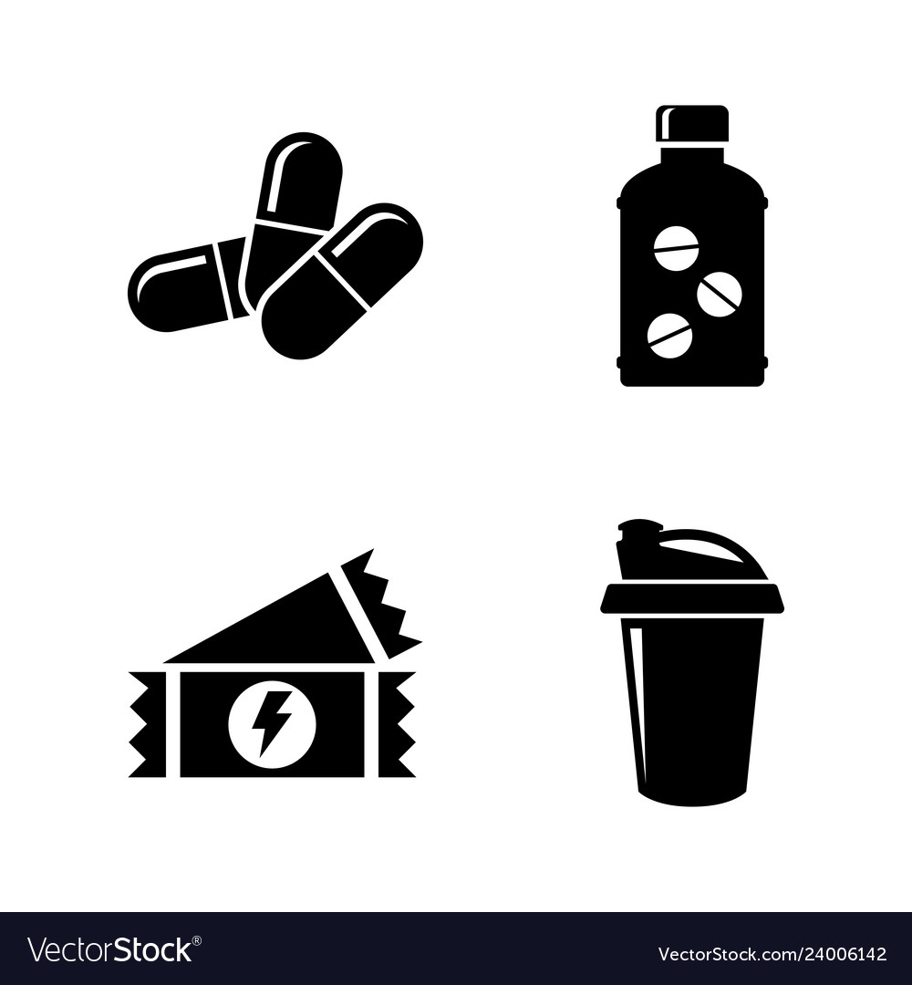 Sport nutrition supplements simple related icons