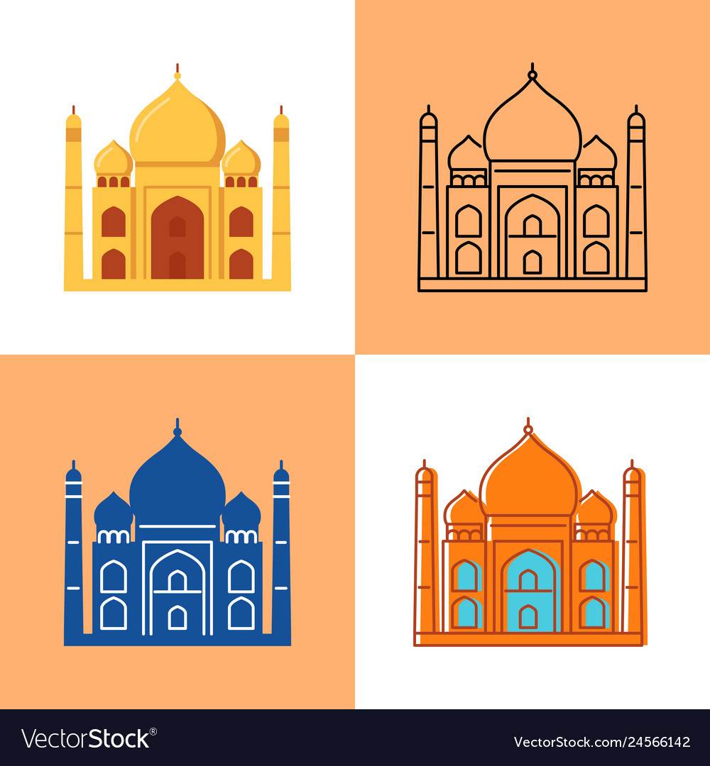 Taj mahal icon set in flat and line styles