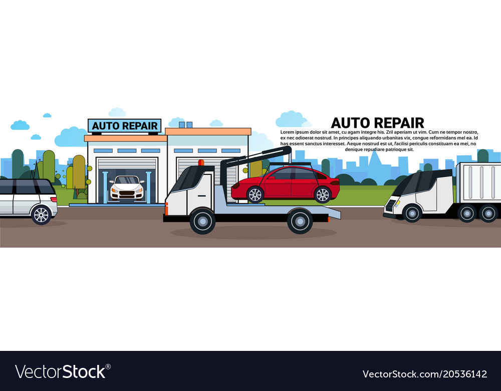 truck towing car to auto repait garage horizontal vector image