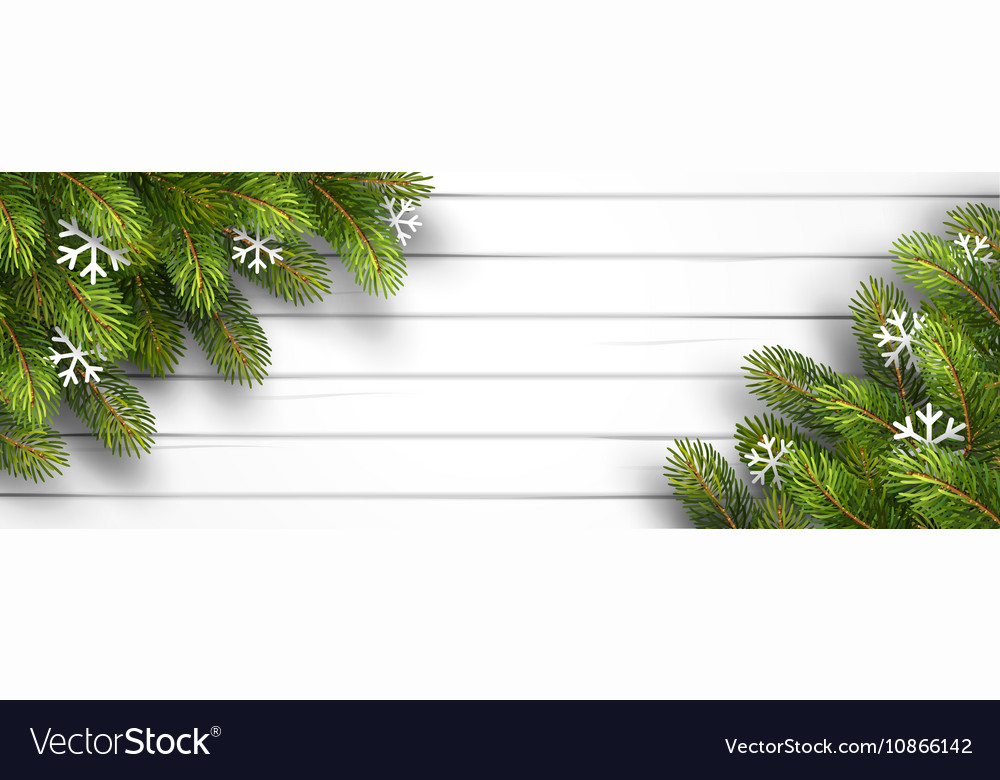 Wooden background with fir branches