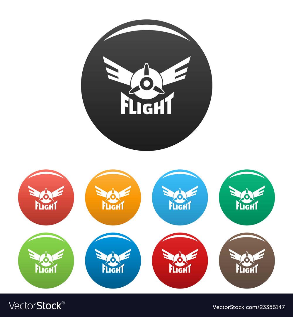 Air flight icons set color