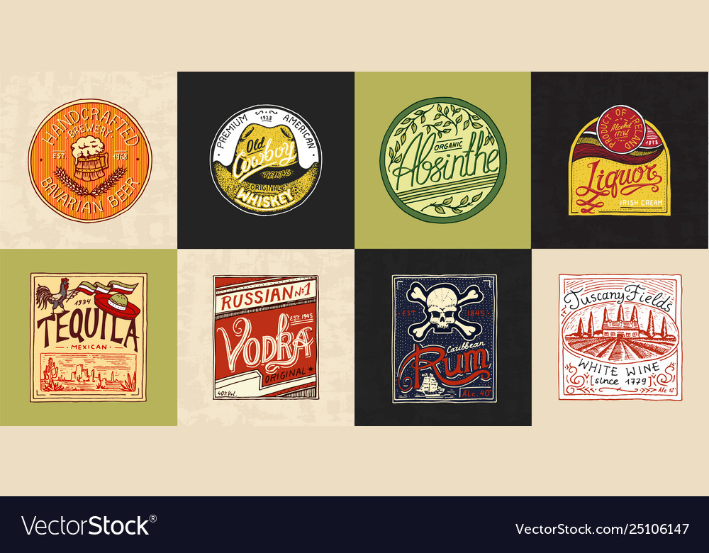Alcohol label with calligraphic elements vintage
