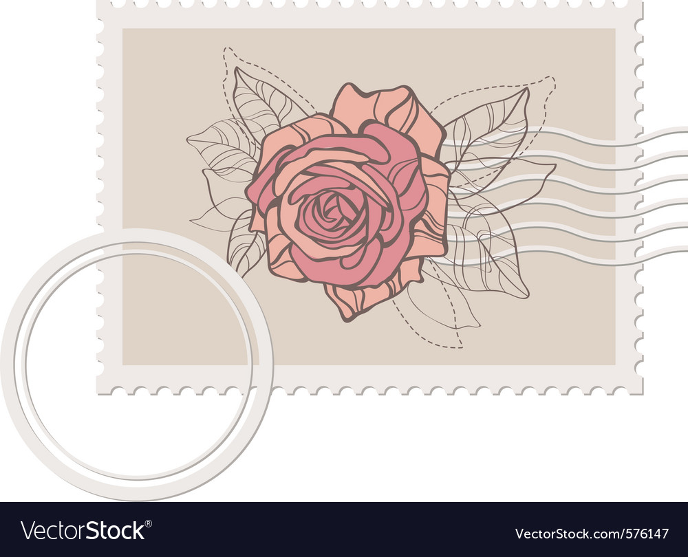 Blank post stamp with rose
