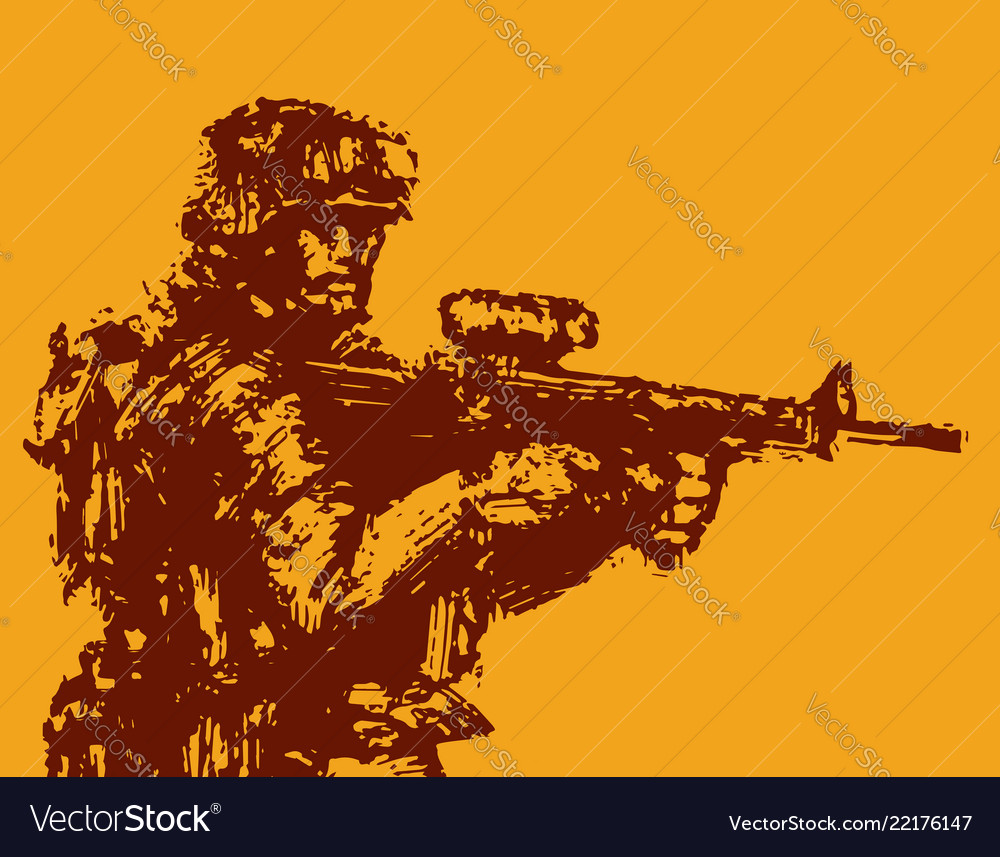 Brave soldier with rifle in action