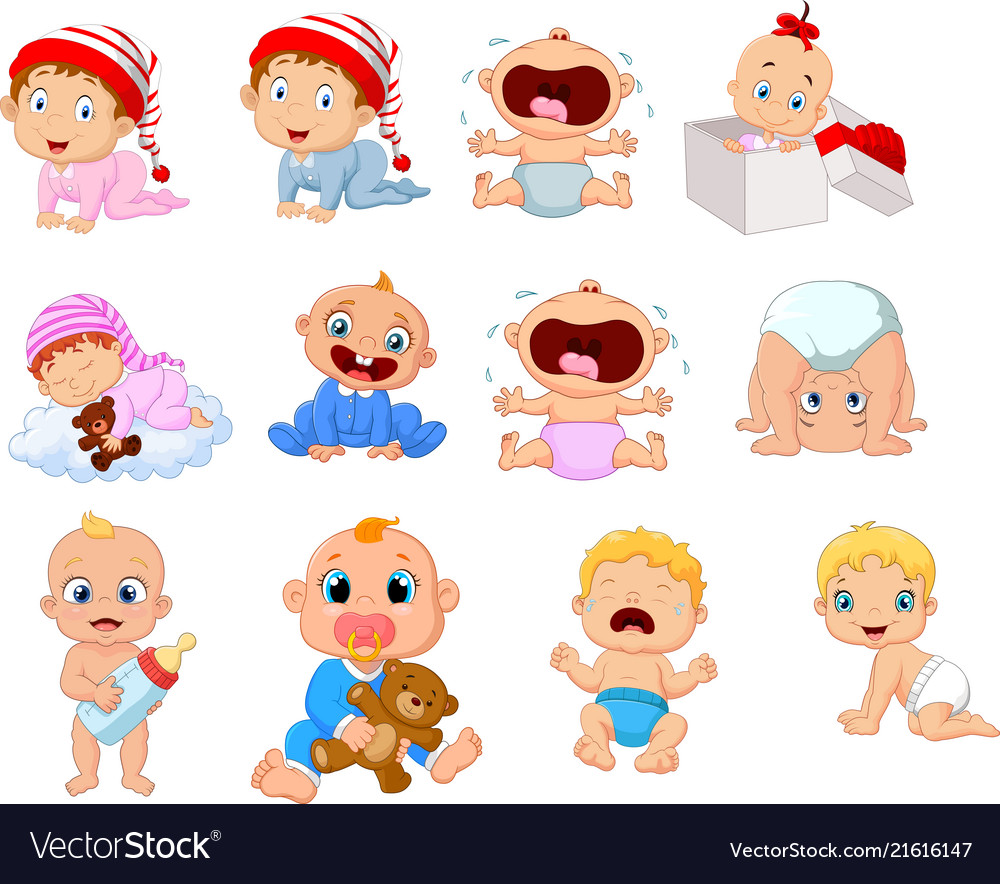 Cartoon babies in different expressions