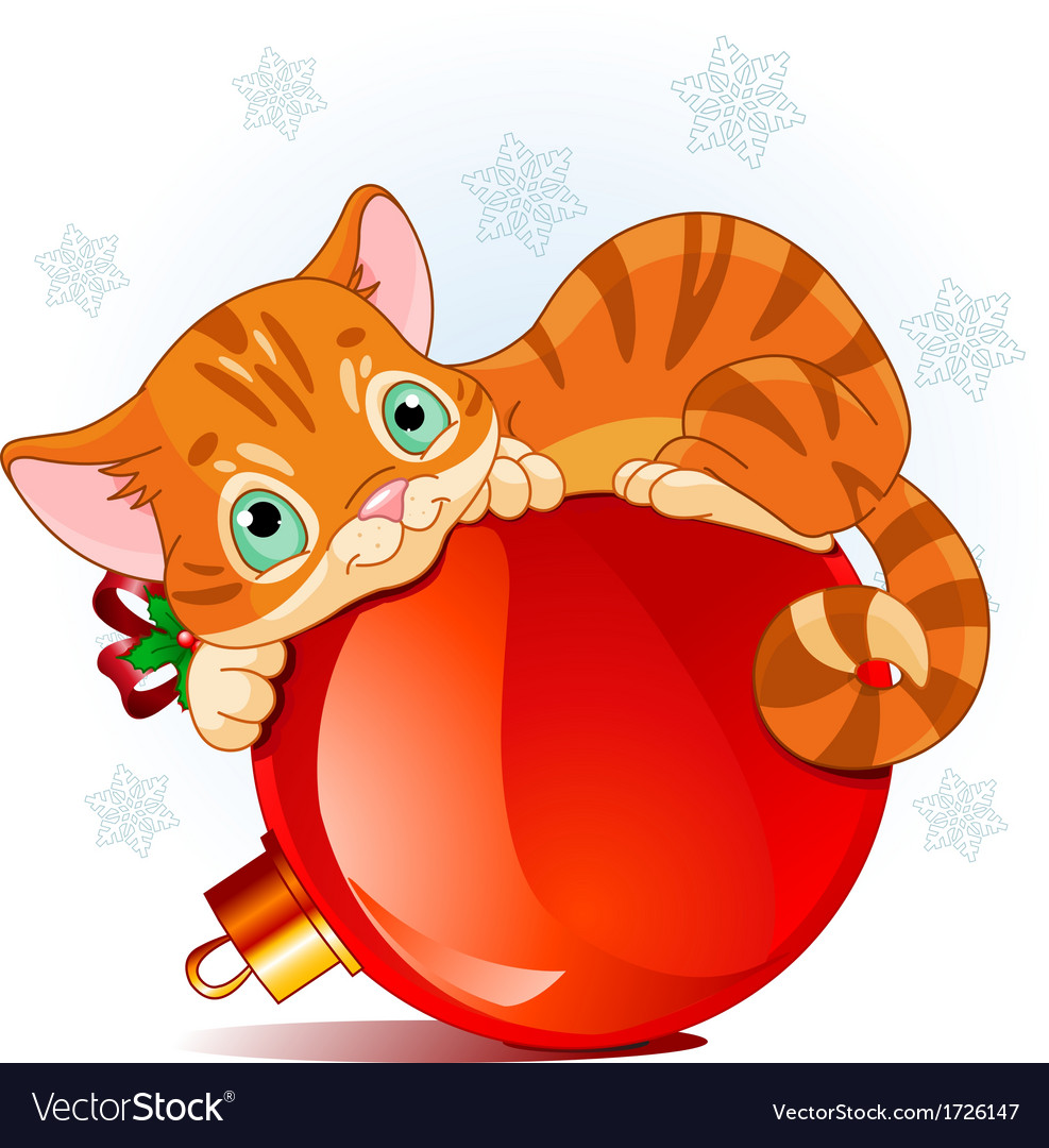 Christmas kitten Royalty Free Vector Image - VectorStock