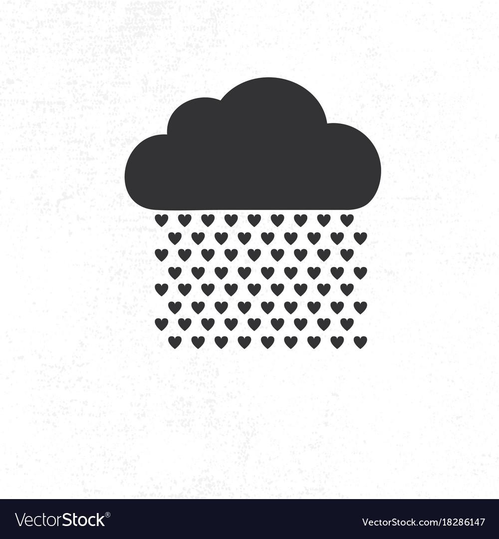 Cloud with heart rain drops vector image