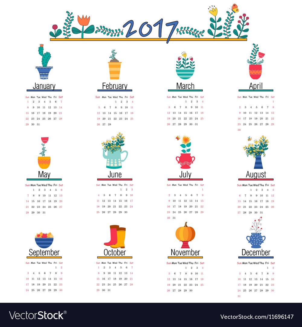 Cute Calendar Template for 2017 Beautiful Funny
