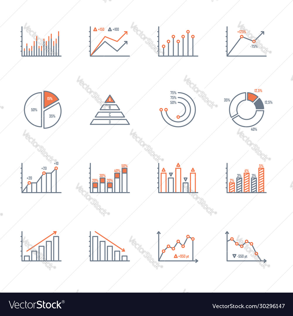 Graphs and charts icons set