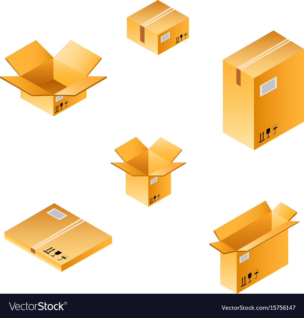 5722f526e79 Isometric box set of different size Royalty Free Vector