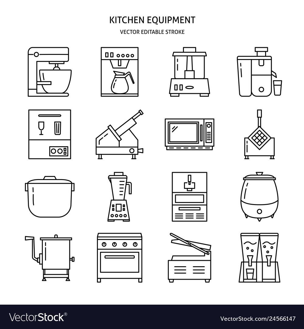 Kitchen equipment icon set in line style