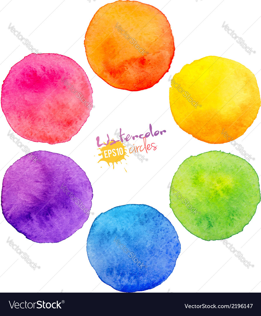 Rainbow watercolor circles