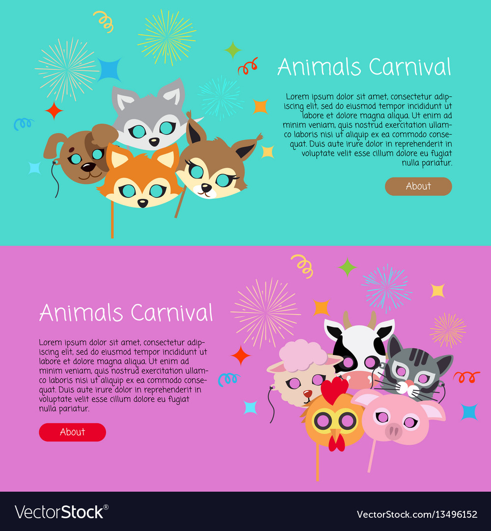 Animals carnival collection of face masks for