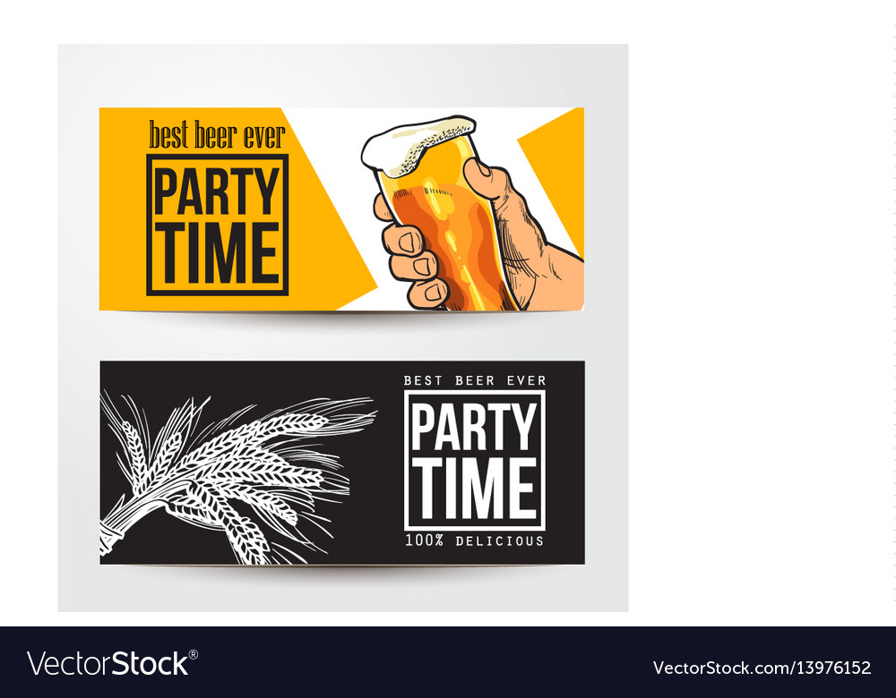 Banners with hand holding glass of beer barley