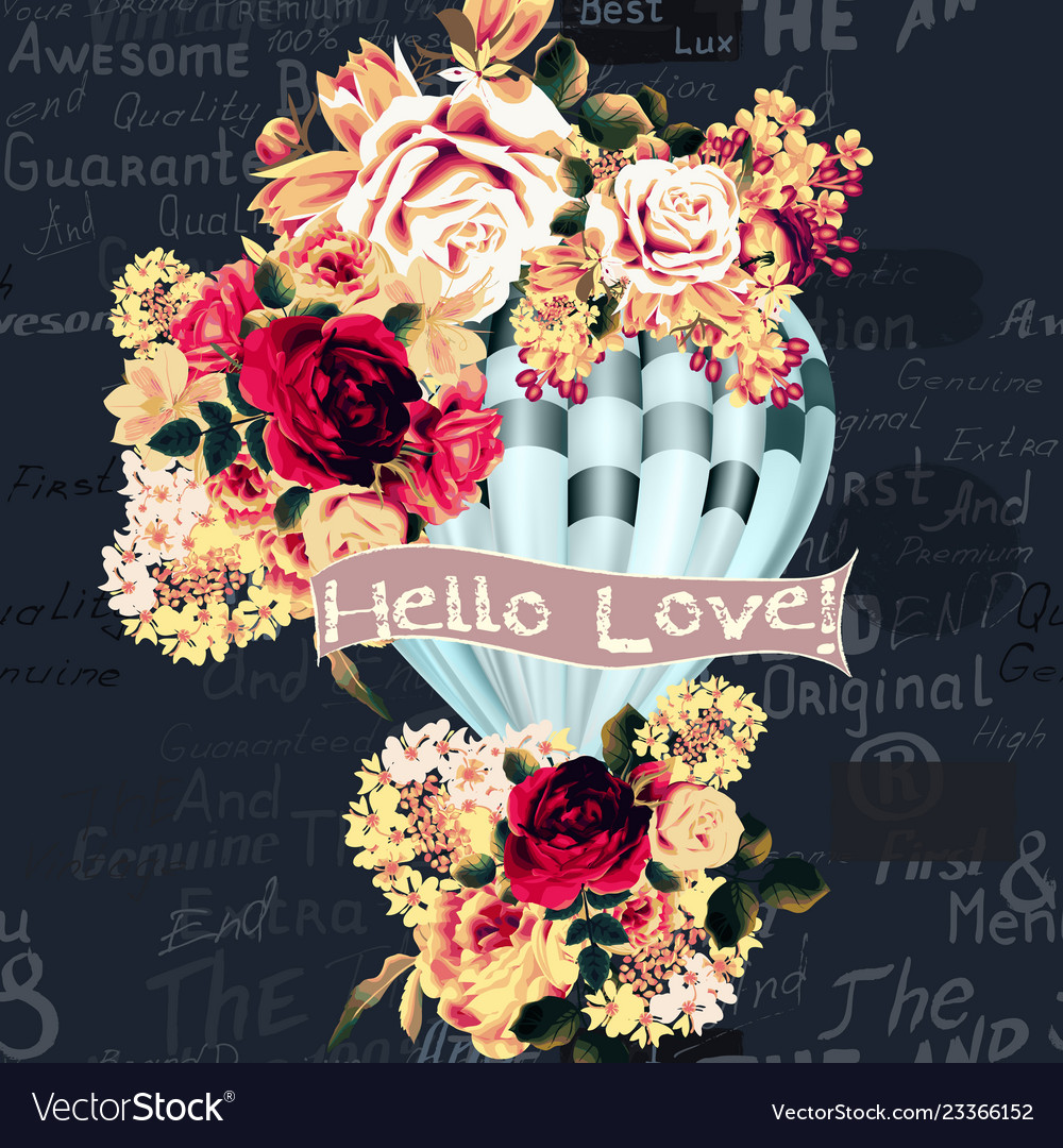 Card with air balloon created from flowers