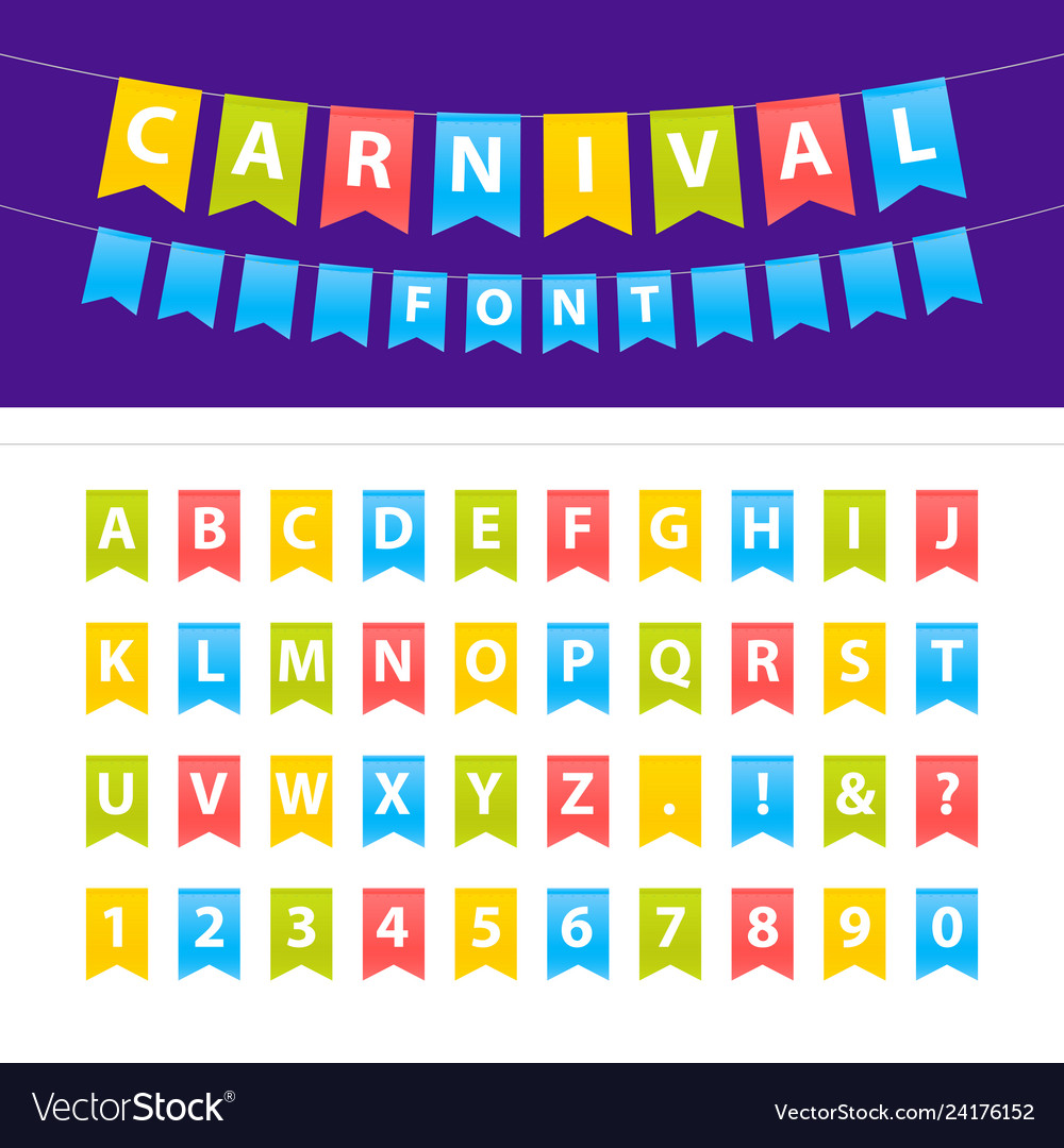 Cartoon uppercase abc font set on party flags