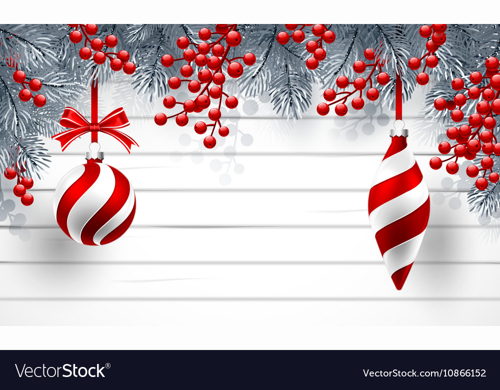 Christmas background with fir branches and red vector image