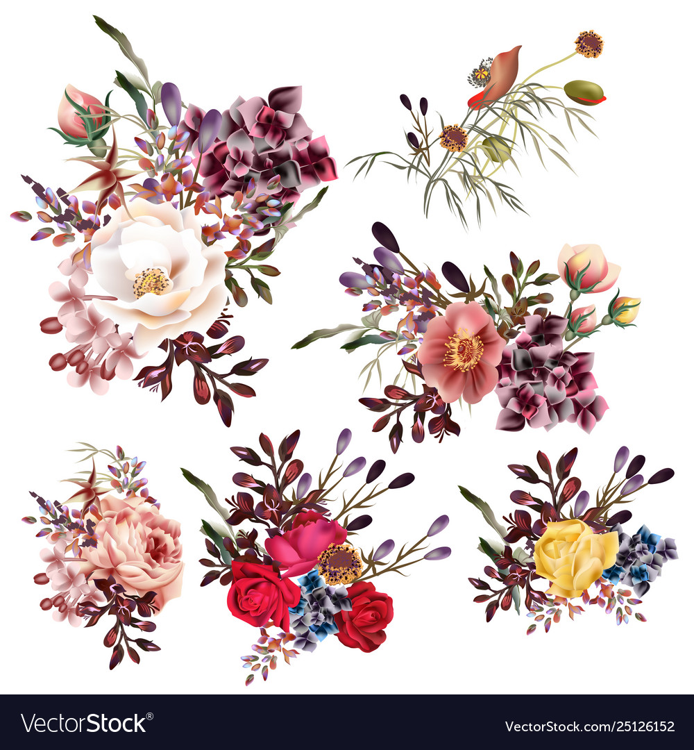 Collection high detailed flowers realistic style