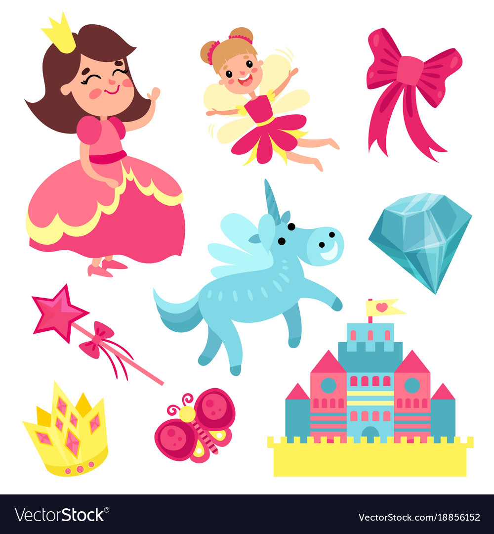 Fairy tale set little princess and fairy with