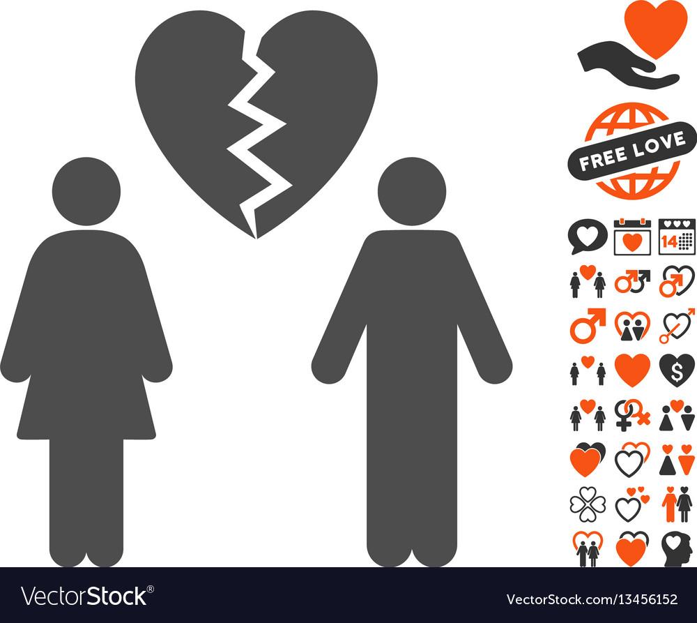 Family divorce icon with valentine bonus