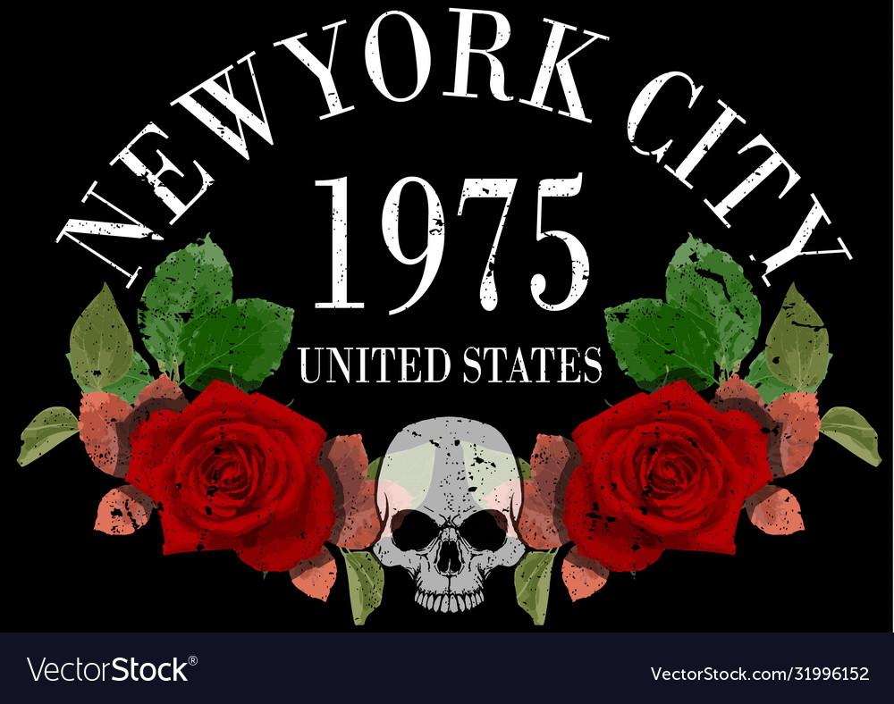 New york rose tee graphic