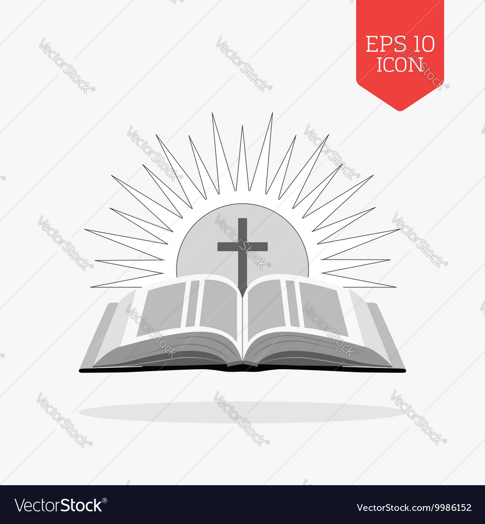open bible with sun and cross icon church logo vector image