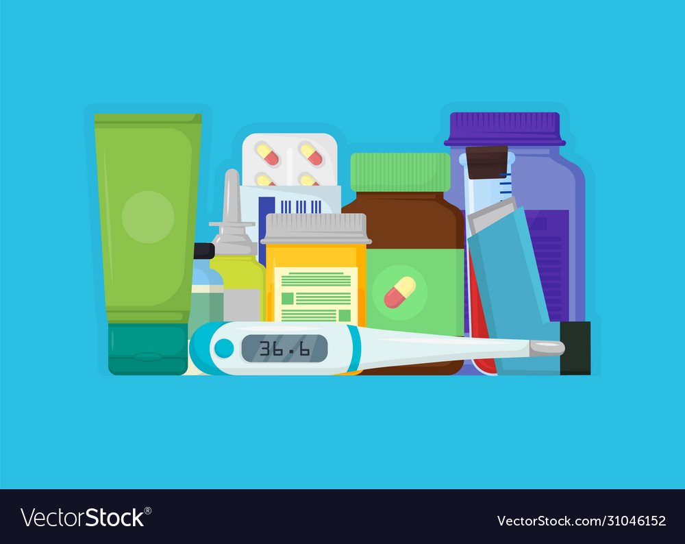 set drugs with labels on blue background vector image set drugs with labels on blue background vector image