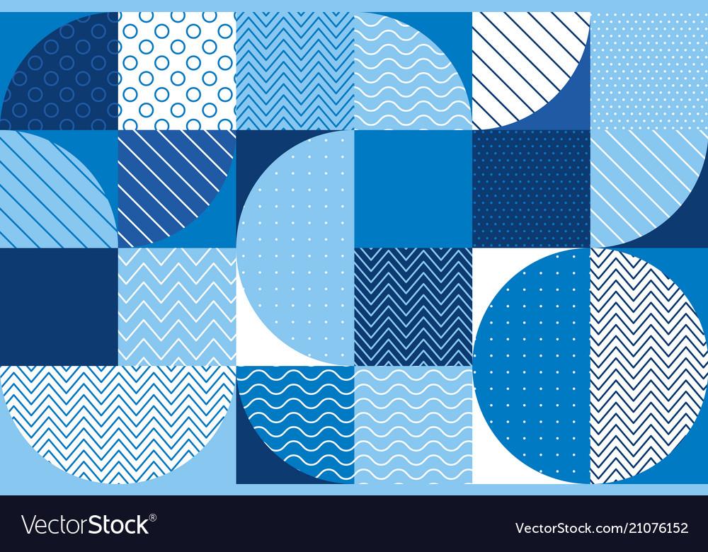 Summer sea blue geometry seamless pattern vector image