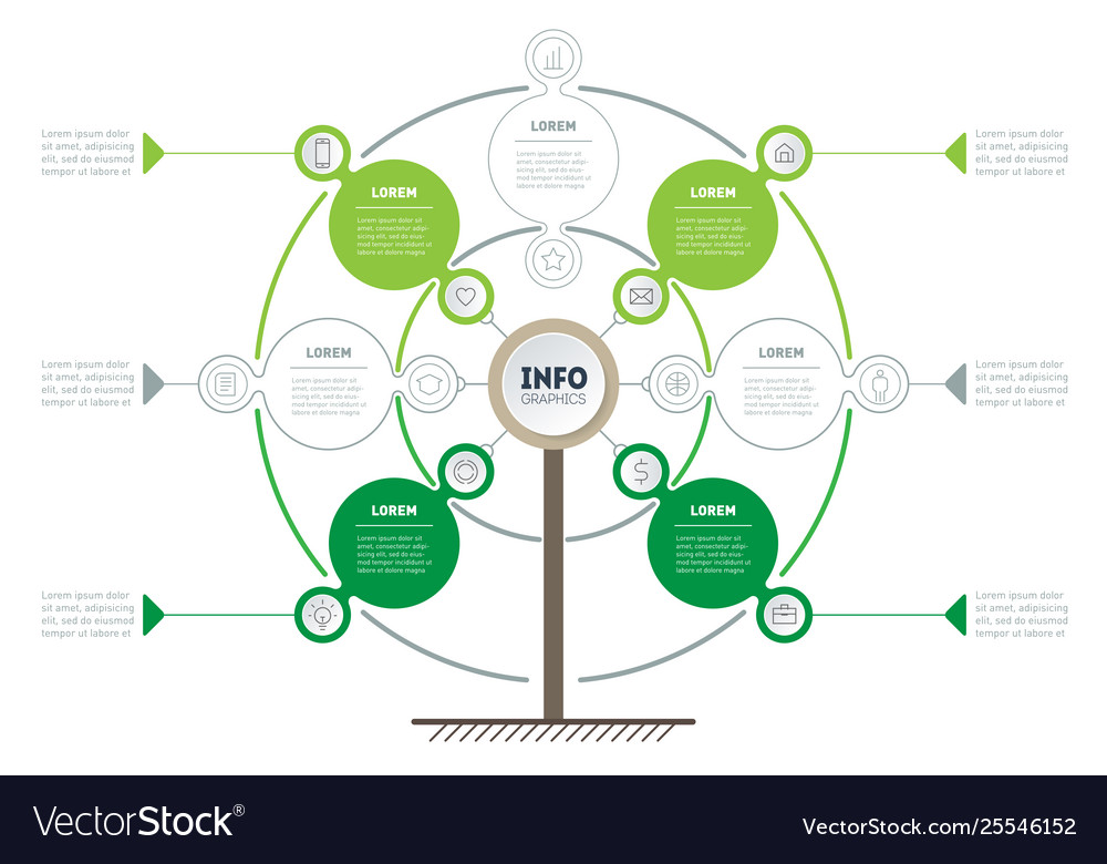 Vertical green timeline infographics tree of