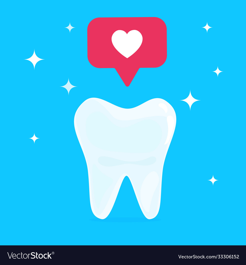 White healthy beautiful tooth with heart social