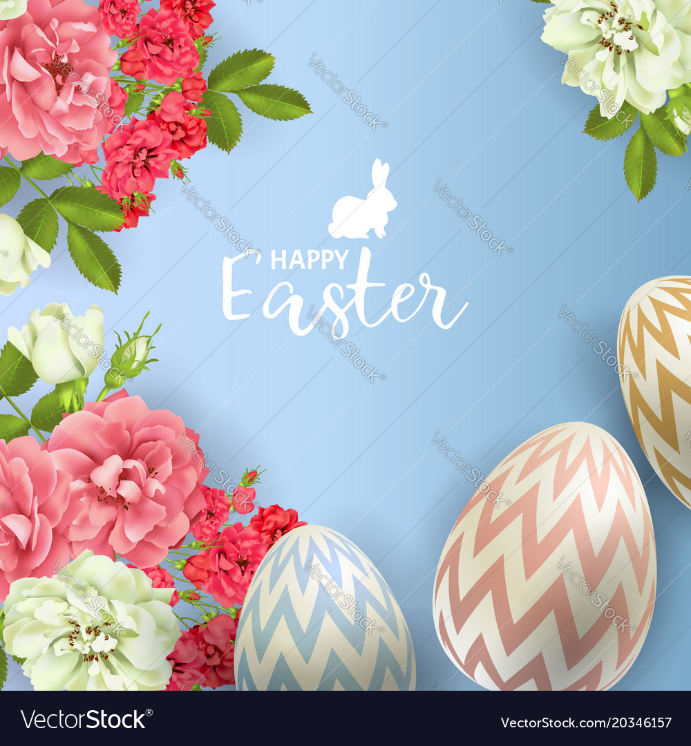 3d easter egg and roses background