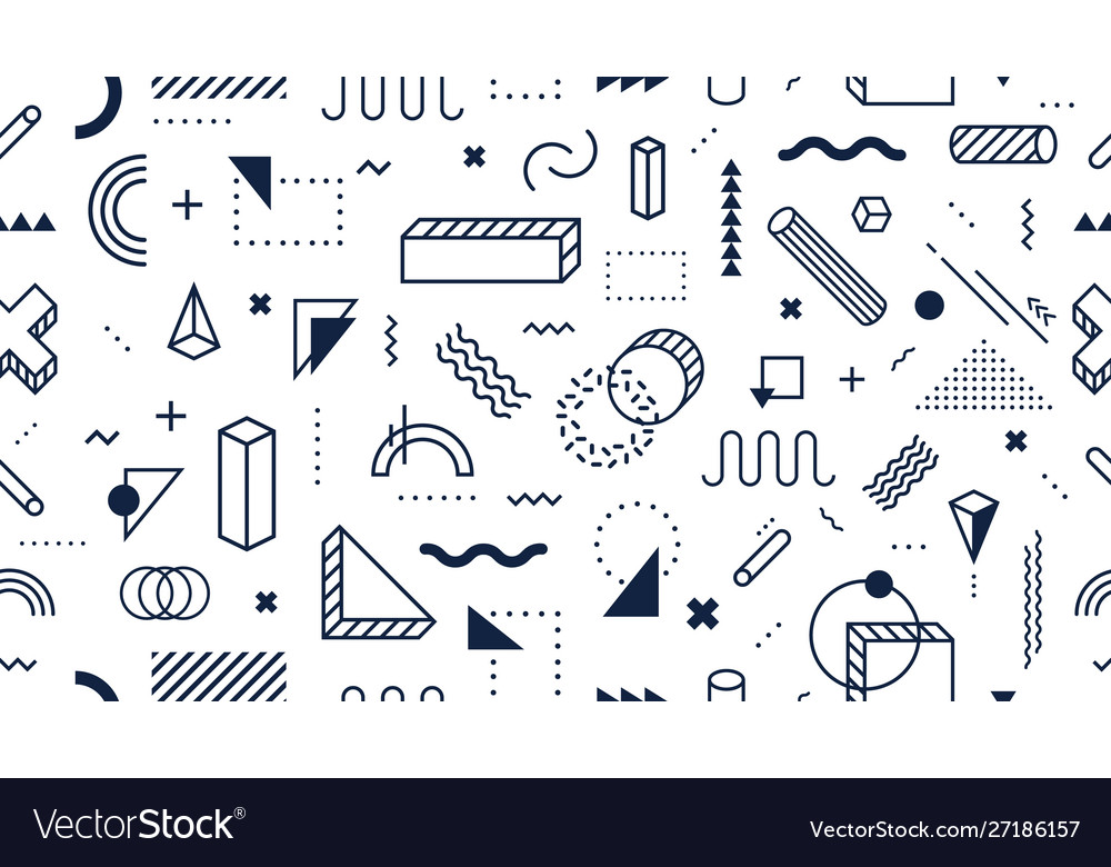 Abstract geometric shapes seamless pattern trendy