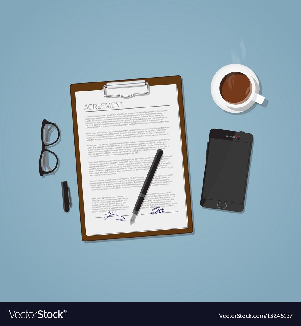 Agreement document vector image