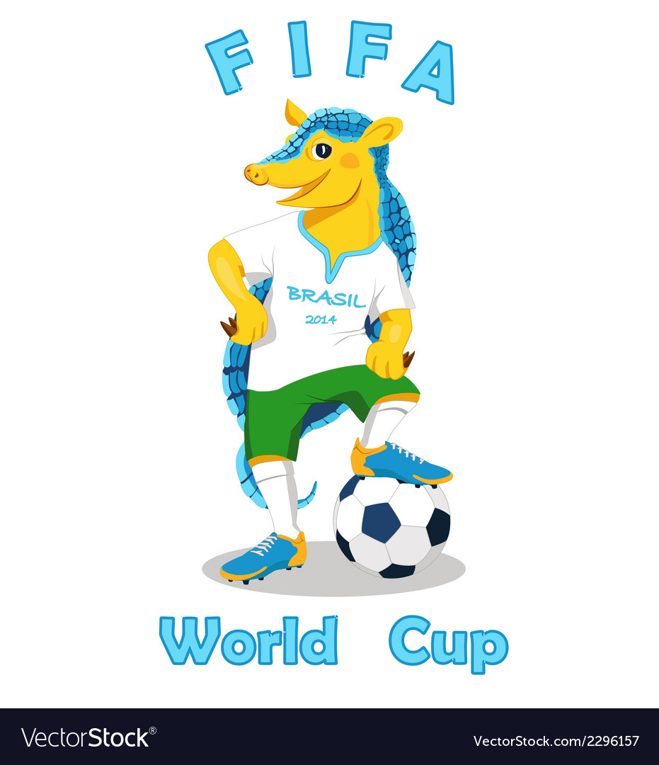Armadillo FIFA World Cup mascot isolated on white