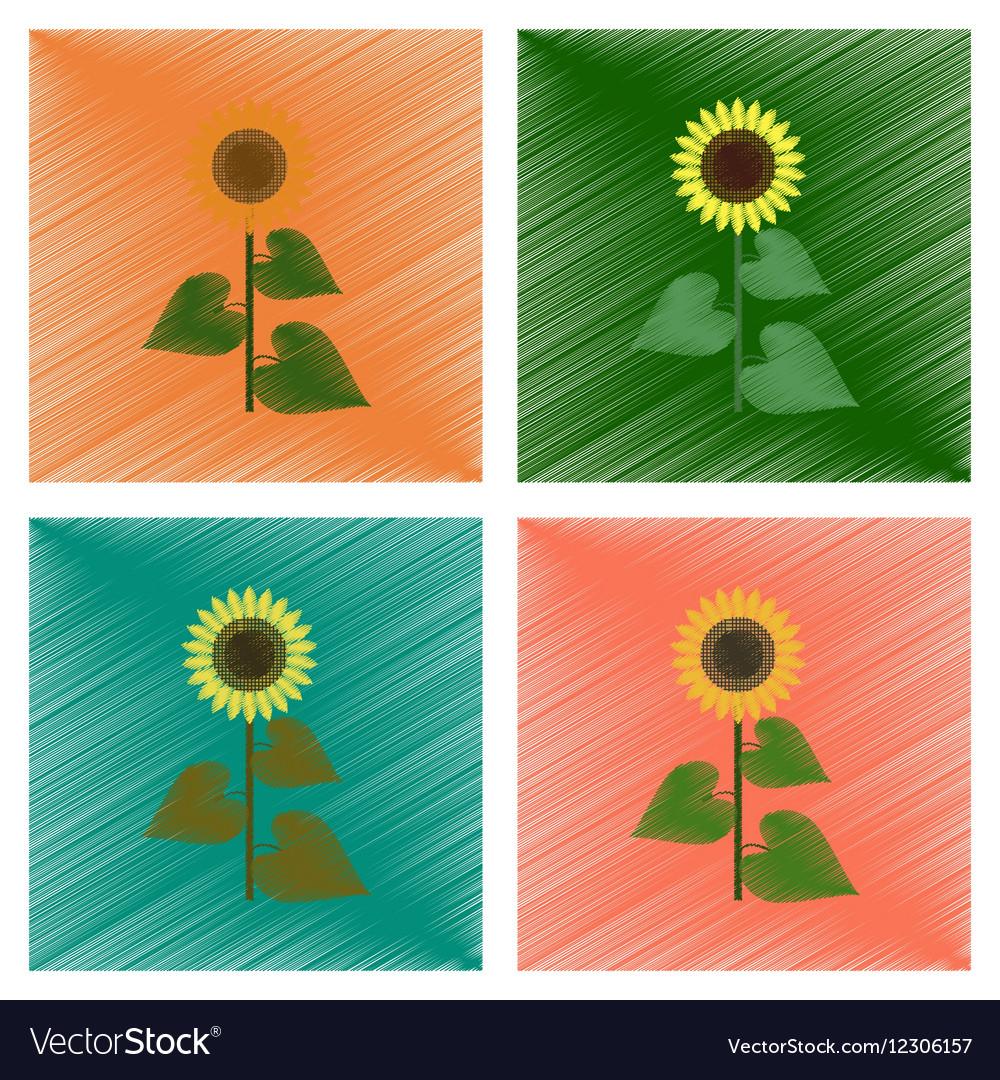 sunflower gardening logo symbol icon flat style