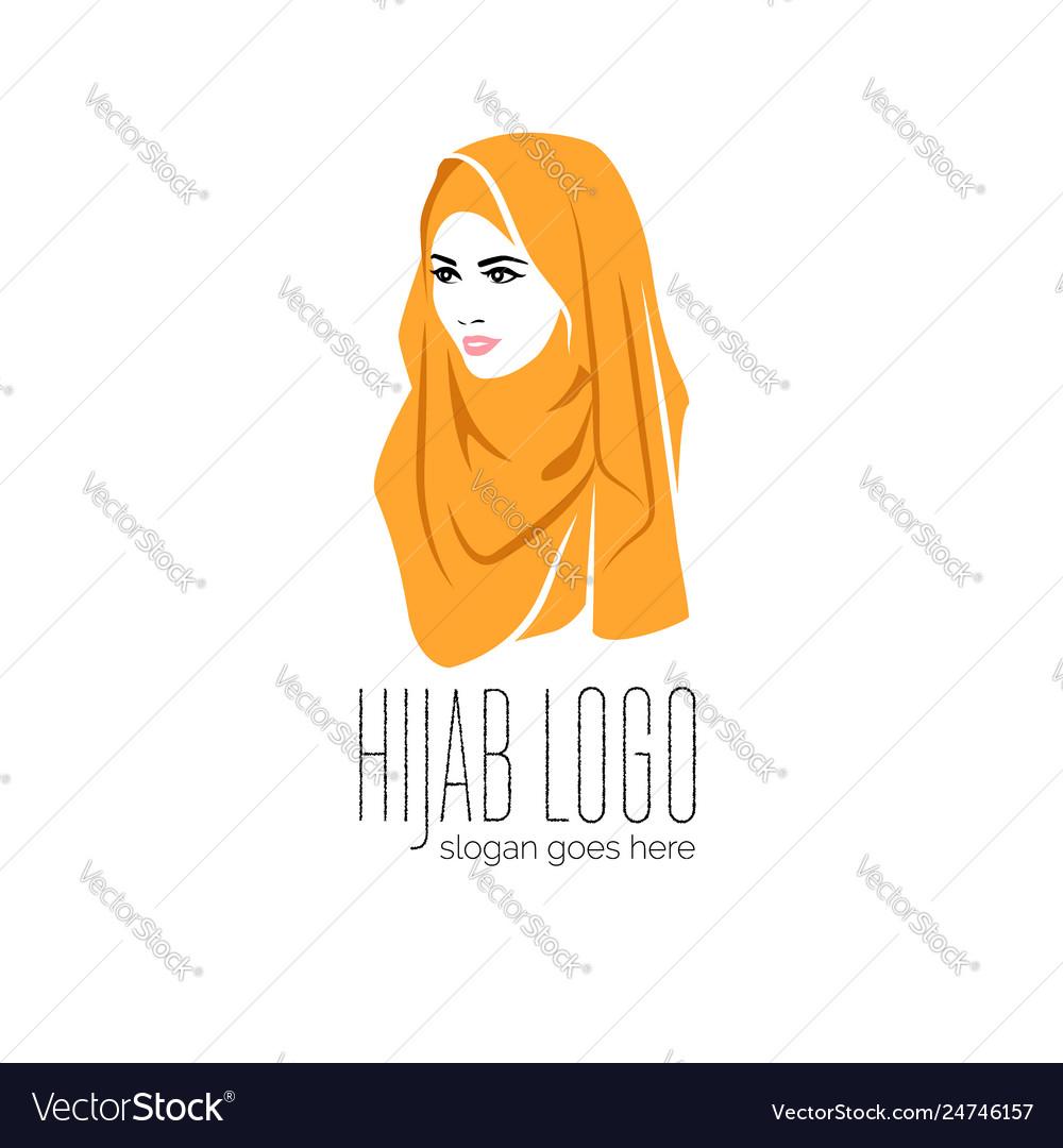Beautiful woman wearing colorful hijab icon hijab