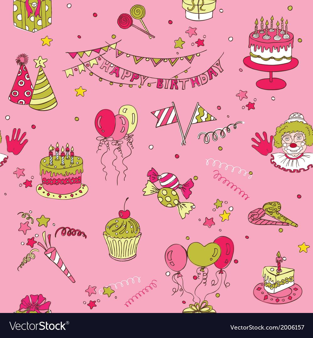 Birthday Seamless Background vector image