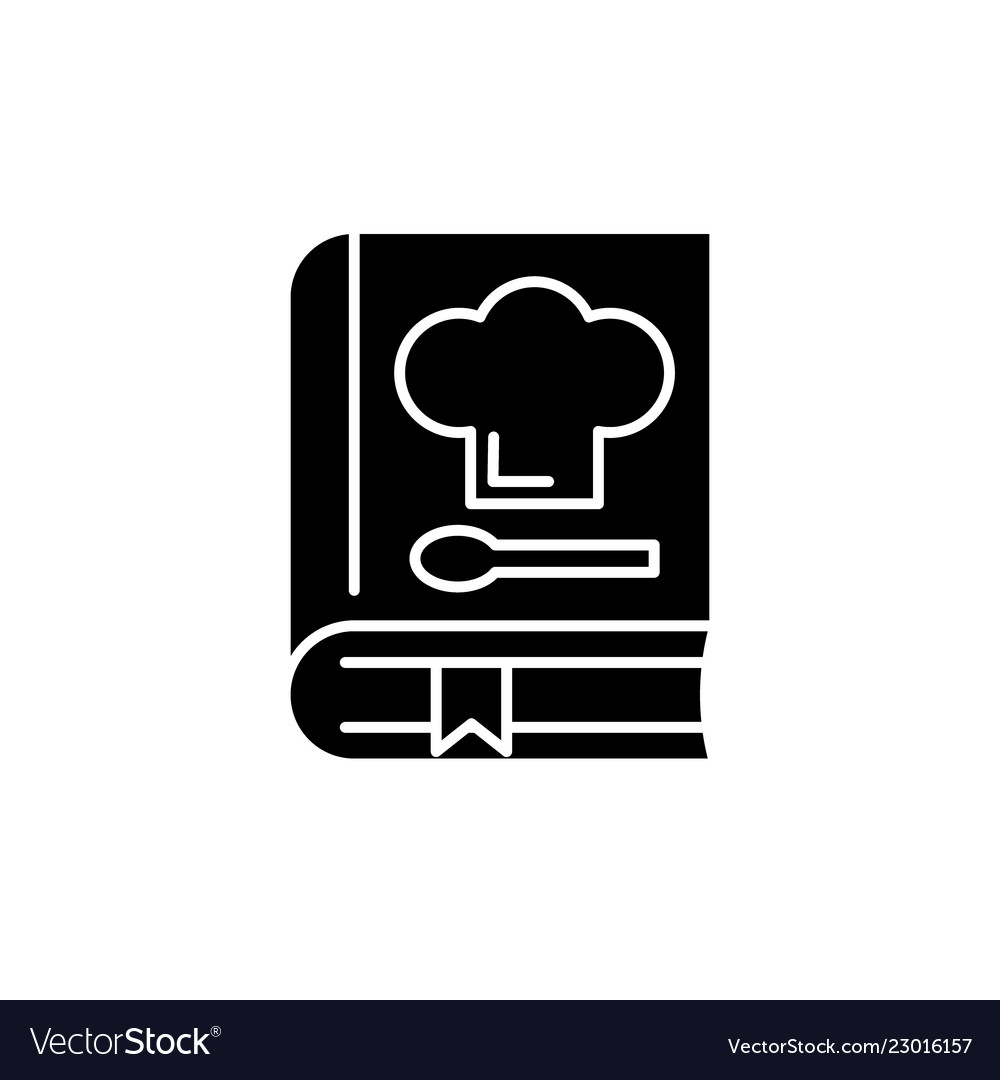 Book of recipes black icon sign on