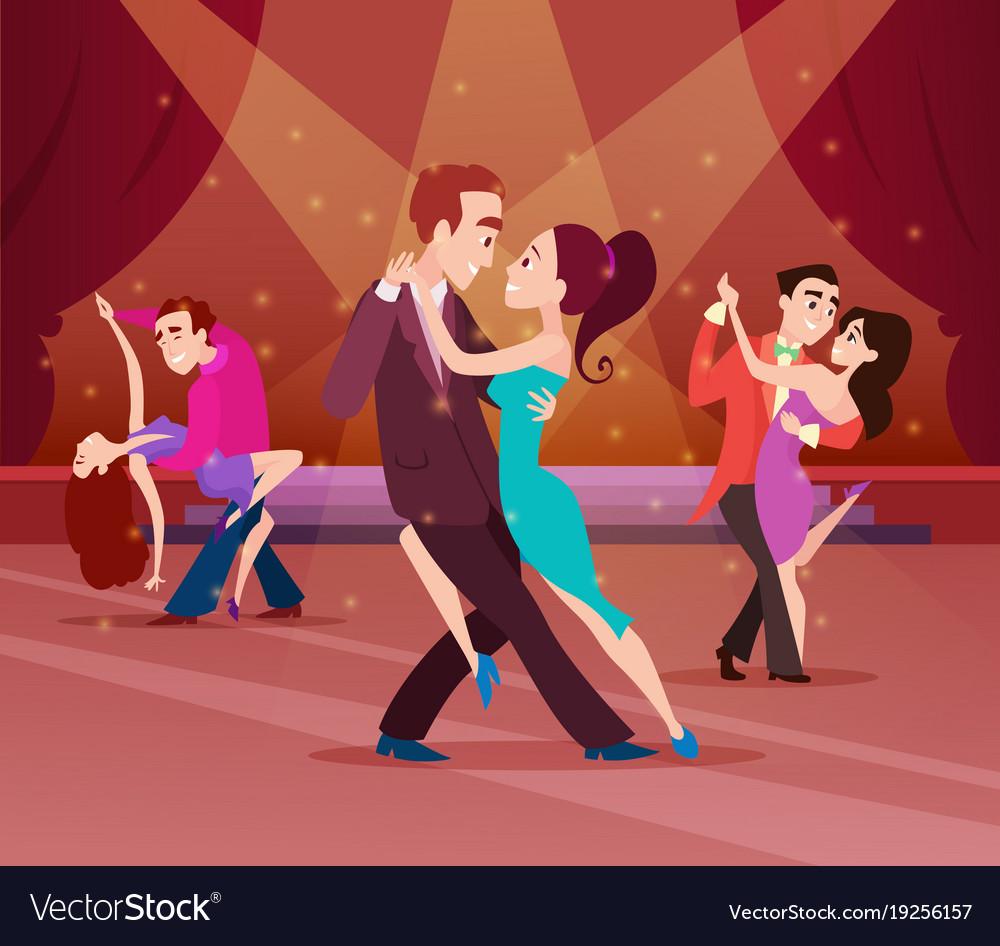 Couples on dance floor cartoon characters dancing