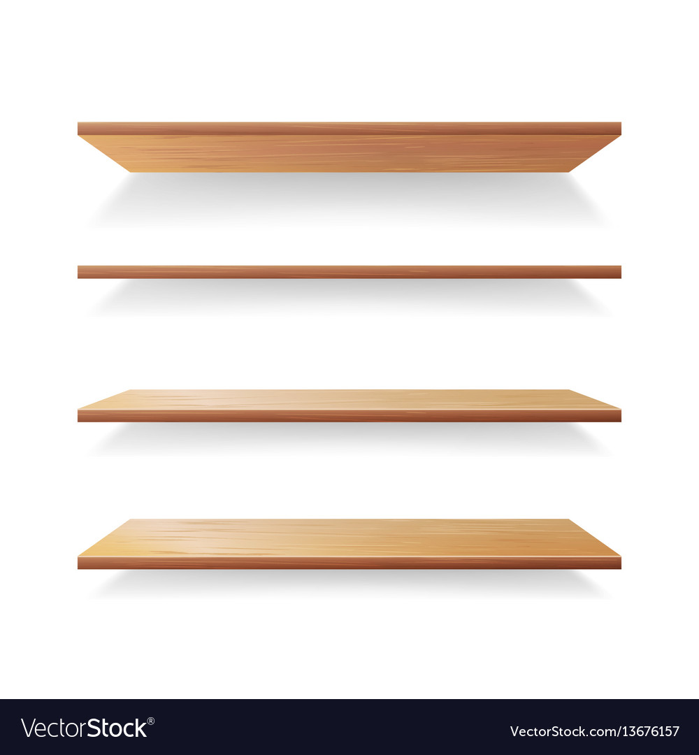 Empty wood shelves template set isolated