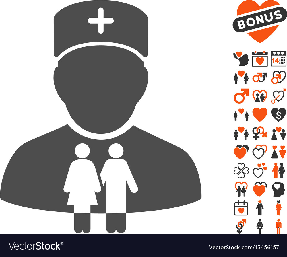 Family doctor icon with lovely bonus