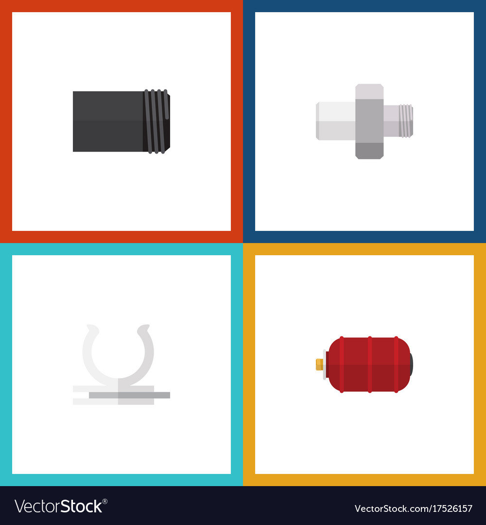 Flat icon industry set of container tube conduit