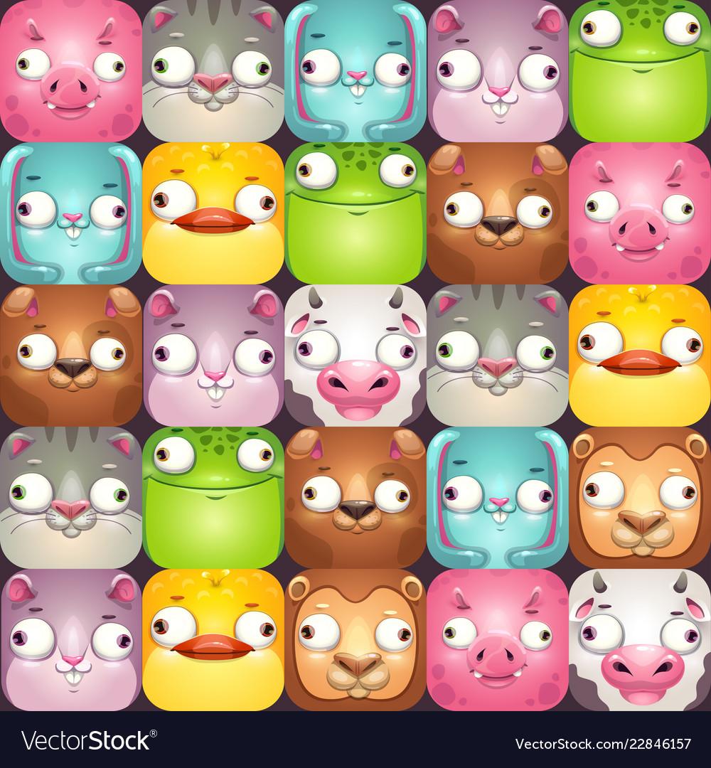 Funny seamless pattern with comic cartoon animal