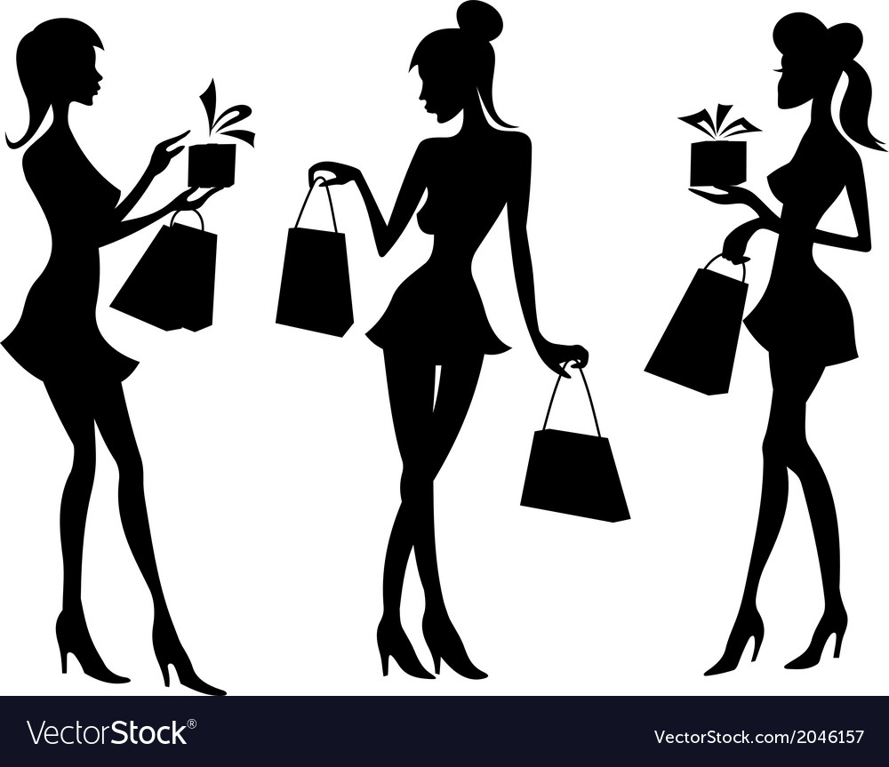 6e206c07c Girls and women with shopping bags Royalty Free Vector Image