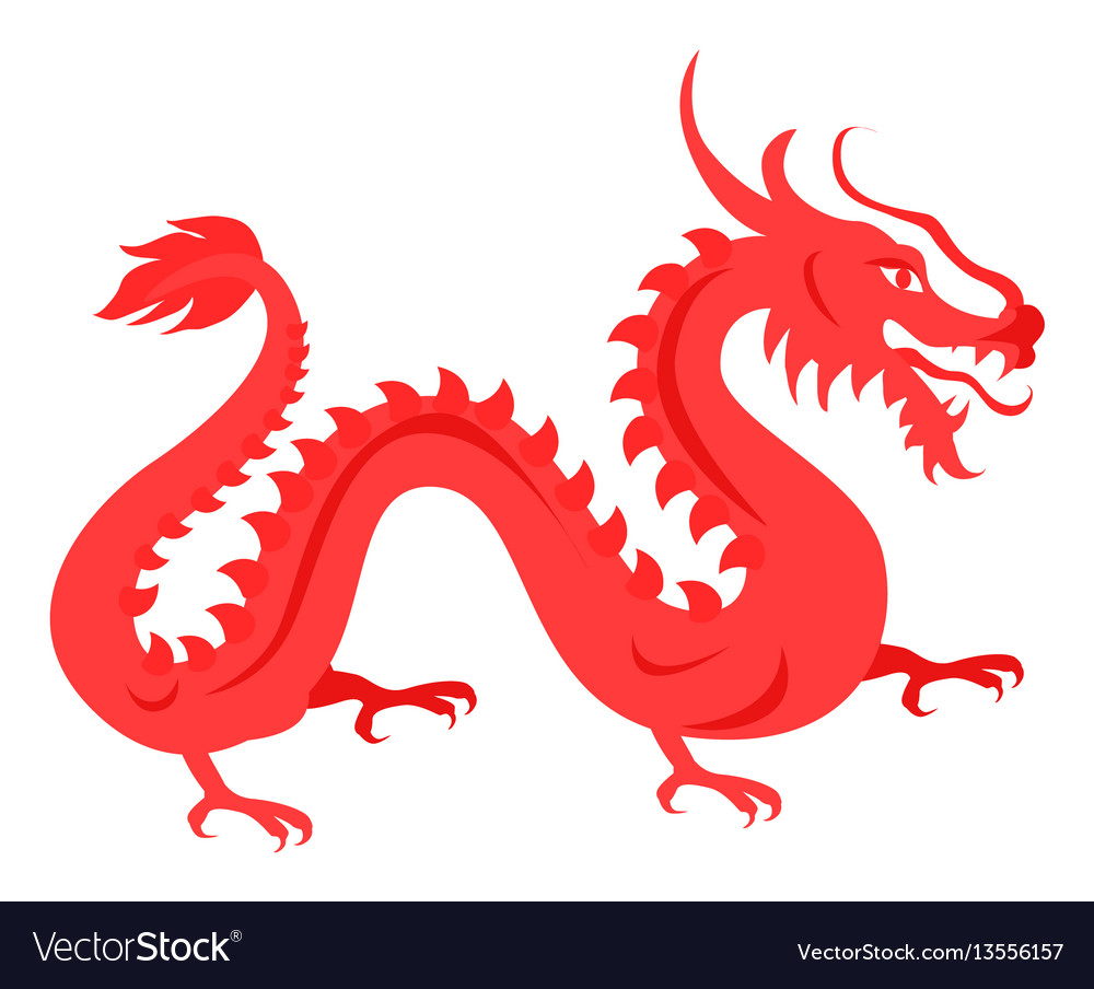Isolated red dragon on white chinese symbol